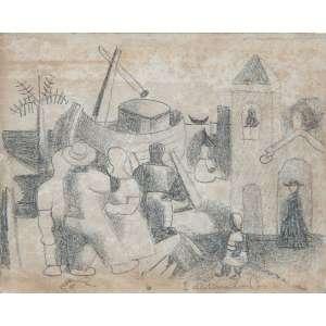 """DI CAVALCANTI - """"Igreja no porto"""" Desenho á grafite sobre papel. Ass. inf. dir. 10 x 13 cm. Ex. Coleção Sylvia Sodré Assumpção. Com etiqueta de autenticidade no verso."""