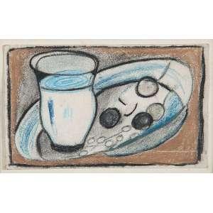 """ANTÔNIO BANDEIRA - """"Natureza morta"""" Técnica mista sobre papel. 9,5 x 16 cm. Ex. Coleção Sylvia Sodré Assumpção. Com carimbo de autenticidade do MAM no verso."""