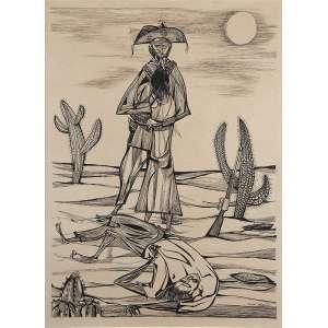 """ALDEMIR MARTINS - """"Cangaceiro"""" Nanquim sobre papel - Ass. dat 1953 no inf. dir. 58 x 45 cm."""
