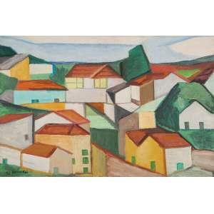 """ALDO BONADEI - """"Casario"""" Óleo sobre tela. Ass. dat. 1973 inf. esq. 54 x 81 cm. Com etiqueta Dan Galeria no verso."""