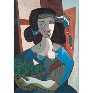 "JESUS FUERTES - ""Mujer frmera"" Óleo sobre tela. Ass. tit. dat. 1990 no verso. 70 x 50 cm."