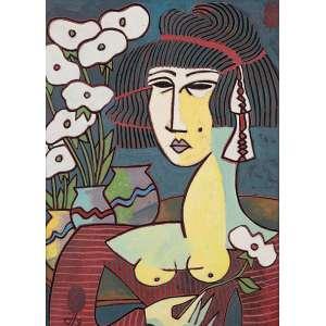 "JESUS FURTES - ""Florista"" Óleo sobre tela. Ass. dat. 1990 inf. esq. ass. tit. dat. no verso. 40 x 30 cm."