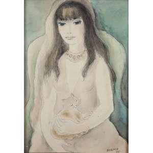 """NOEMIA MOURÃO - """"Mulher com gato"""" Nanquim e aquarela sobre papel. Ass. dat. 1977 inf. dir. 49 x 35 cm. Com vestígio de etiqueta Roberto Magalhães Gouvea."""