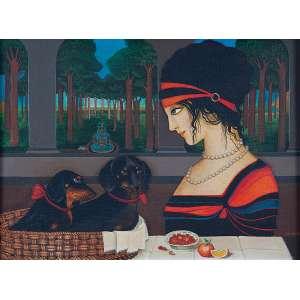 """SONYA GRASSMANN - """"Mulher com cachorros"""" Óleo sobre eucatex. Ass. dat. 1975 inf. dir. 30 x 40 cm. Reproduzido na pág. 53 do livro da exposição no Escritório de Arte James Lisboa. Ex. Coleção Catherine Sasson."""