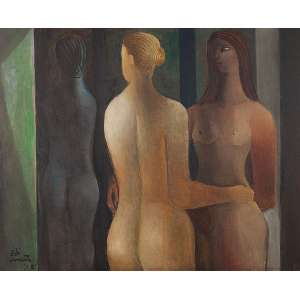 """DI CAVALCANTI - """"Três Mulheres"""" Óleo sobre tela. Ass. dat. 1961 inf. esq. 81 x 100 cm. Com etiqueta da Petite Galerie no verso."""