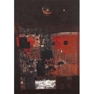 """FERNANDO ODRIOZOLA - """"Sem titulo"""" Óleo sobre eucatex. Ass. dat. 1965 inf. dir. 90 x 64 cm."""