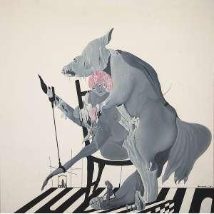 "BERNARDO CID - ""Trabalho F"" Óleo sobre tela. Ass. dat. 1978 inf. dir, ass. tit. dat. no verso. 130 x 130 cm."