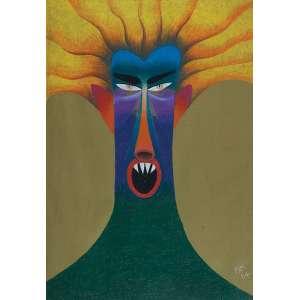 """ROBERTO MAGALHÃES - """"Grito frente"""" Giz de cera sobre papel. Ass. dat. 1984 inf. dir. 95 x 66 cm. Com etiqueta da Suzanna Sassoun. Com etiqueta Monte Sante Galeria."""