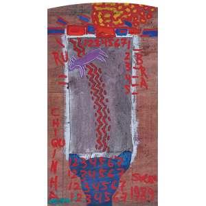 """SIRON FRANCO - """"Saudades mais Chiquinha a cachorra que matei"""" Óleo sobre madeira e tela colada. Ass. dat. 1989 inf. dir, ass. dat. 1990 no verso. 93 x 51 cm."""