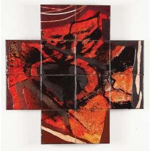 """CARLOS VERGARA - """"Sem titulo"""" Pigmentos minerais e esmalte sobre painel de azulejos montado em madeira. Assinada. 12 Azulejos de 15 x 15 (cada) / 60 x 60 x 2 cm."""