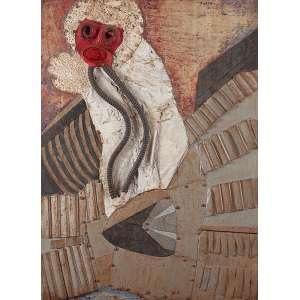 """TEREZA NAZAR - """"Sem titulo"""" Da série: Astronautas. Chapa de ferro, tela de arame,plástico, objetos e tinta sobre madeira. (c. 1966) Ass. sup. dir. 110 x 80 cm."""