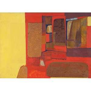 """SILVIO OPPENHEIM - """"Composição em amarelo"""" Têmpera e colagem. Ass. dat. 1967 inf. dir. ass, dat. no verso. 51,5 x 70 cm. Com certificado de autenticidade assinado pelo artista nº 0672 no verso."""