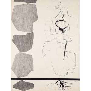 "ANTÔNIO LÍZARRAGA - ""Sem titulo"" Nanquim sobre papel. Ass. dat. 1966 inf dir. 69 x 52 cm."