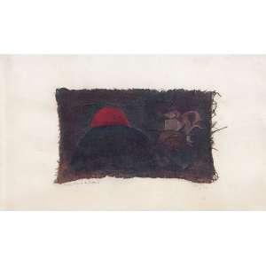 """WESLEY DUKEE LEE - """"Manhã da morte do templário"""" Têmpera e colagem - Ass. dat. 1961 inf. dir. tit. inf. esq. 31 x 52 cm. Com etiqueta da Galeria Sistina no verso."""