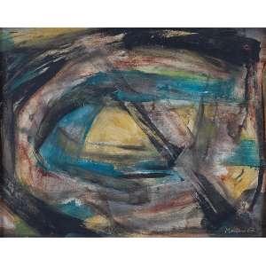 """VICENTE DO REGO MONTEIRO - """"Sem titulo"""" Óleo sobre eucatex. Ass. dat. 1962 inf. dir. 39 x 48 cm."""