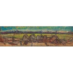"""FLÁVIO SHIRÓ - """"Sem titulo"""" Óleo sobre tela. Déc. 80. Ass. inf. dir. 38 x 133 cm."""