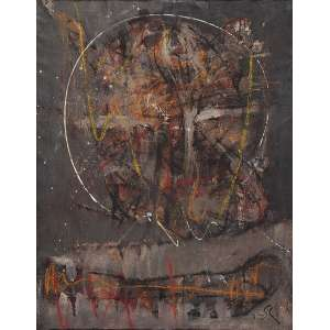 """FLÁVIO SHIRÓ - """"Noturno"""" Óleo sobre tela. Ass. inf. dir. Ass. tit. dat. 1988 e loc. """"Paris"""" no verso. 86 x 68 cm."""