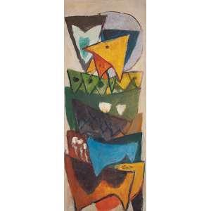 """HENRIQUE BOESE - """"Sem titulo"""" Óleo sobre tela. Ass. inf. dir. 100 x 40 cm. Com etiquetas de Cosme Velho Galeria de Arte – SP e da Galeria São Paulo no verso."""
