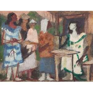 """HENRIQUE BOESE - """"A cartomante"""" Óleo sobre tela. Sem ass. dat. 1966 em etiqueta do artista colado no verso. 46 x 60 cm. Com etiqueta da exposição: Henrique Boese Pintura, só pintura, realizada no Museu Lasar Segall - 1986 descrito sob nº 15 do catálogo da referida exposição."""