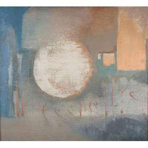 """YOLANDA MOHALYI - """"Composição"""" Óleo sobre tela. Ass. inf. dir. 70 x 77 cm. Com etiqueta do Museu de Arte Moderna de São Paulo – """"Panorama de Arte Atual Brasileira""""."""
