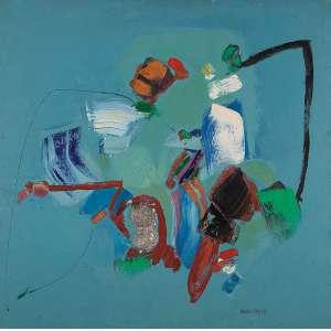 """MARIA POLO - """"Sem titulo"""" Óleo sobre tela. Ass. dat. 1966 inf. dir. 90 x 90 cm."""