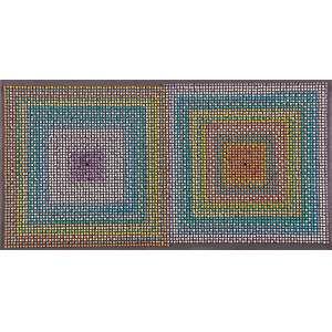 """JOSÉ PATRÍCIO - """"Piercing III – progressão cromática"""" 6. 272 alfinetes sobre cartão de espuma em caixa de acrílico. 31,5 x 58,5 x 4,8 cm."""
