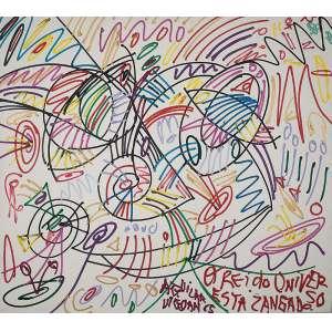 """JOSÉ ROBERTO AGUILAR - """"O rei do universo zangado"""" Acrilica sobre tela. Ass. dat. 1965 no centro. 160 x 180 cm."""