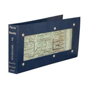 """PAULO BRUSKY - """"Intersigne VIII"""" Placa de computador sobre capa de livro. 1993. Ass. 14 x 58 cm (Aberto)."""