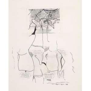 "NELSON LEINER - ""Sem titulo"" Estudo para gravura ""Love Life gorilla"". Nanquim e guache sobre papel. Ass. dat. 1968 inf. dir. 38 x 30,5 cm."