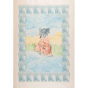 """NELSON LEINER - """"Sem titulo"""" Serigrafia colorida á lápis de cor. Prova única. Ass. dat. 1968 inf. dir. 100 x 70 cm."""