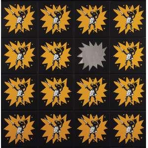 """NELSON LEIRNER - """"O retorno (67) – Você faz parte"""" Um por todos e todos por Um. Adesivo e espelho sobre madeira. 2000. Ass. dat. 1999+3,tit. no verso. 152 x 152 cm. Ex. Coleção R. Leirner. Com etiqueta da Silvia Cintra Galeria de Arte."""