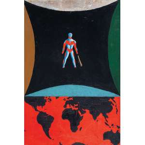 """ALEX CERVENY - """"O mundo errado"""" Óleo sobre tela. Ass. tit. dat. 1999 no verso. 60 x 40 cm. Reproduzido na pág. 47 do livro """"Brazilian Art VI""""."""