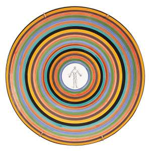 """ALEX CERVENY - """"Sem titulo"""" Cerâmica pintada. Ass. 38 cm de diâmetro."""