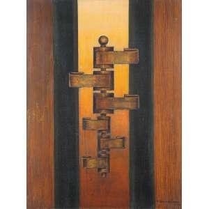 """WALDEMAR DA COSTA - """"Estático II"""" Óleo sobre madeira. Ass. dat. 1970 e loc. """"SP"""" inf. dir. 86 x 65 cm. Com carimbo da retrospectiva realizada no MAM em São Paulo."""