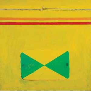 """EMMANUEL NASSAR - """"Engate amarelo"""" Acrílico sobre tela. Ass. dat. 2000 no verso. 90 x 90 cm. Com etiqueta da Galeria Luisa Strina."""