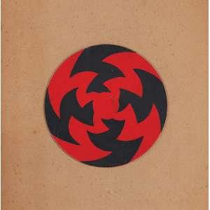 """JUDITH LAUAND - """"Concreto 66"""" Guache sobre cartão. Ass. dat. 1957 no verso. 14 cm diâmetro. Participou da Exposição Judith Lauand – MAM - SP - 2011. Reproduzido na pág. 37 do catálogo da Exposição Judith Lauand """"Os Anos 50 e a Construção da Geometria""""- Celso Fioravante realizada no I. A. C - 2015."""