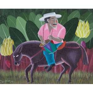 """IVONALDO - """"Cavalheiro com tambor"""" Acrílico sobre tela. Ass. dat. 1995 inf esq,ass. tit. dat. e loc. """"Olinda –Pernambuco"""" no verso. 40 x 49 cm."""