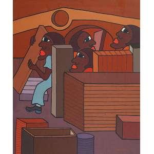"""IVONALDO - """"Armazém"""" Óleo sobre tela. Ass. dat. 1975 inf. dir,tit. no verso. 60 x 50 cm. Ex. Coleção Renée Sasson."""
