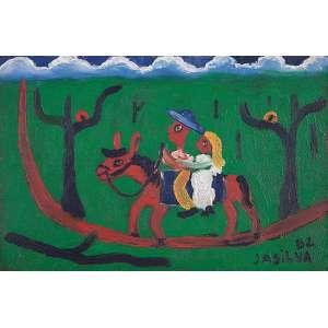 "JOSÉ ANTÔNIO DA SILVA - ""Casal cavalgando"" Óleo sobre tela. Ass. dat. 1982 inf. dir,ass. dat. no verso. 20 x 30 cm."