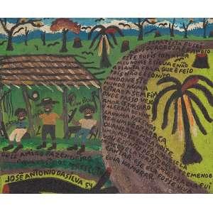 """JOSÉ ANTÔNIO DA SILVA - """"Dois amigos fazendeiros dava gosto de me escuta"""" Óleo sobre tela. Ass. dat. 1954 inf. esq. com dedicatória e poema. 26 x 31 cm."""