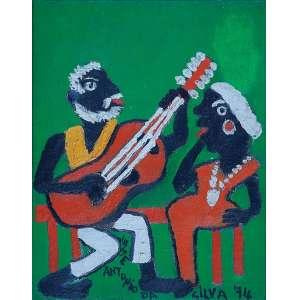 """JOSÉ ANTÔNIO DA SILVA - """"Casal cantores"""" Óleo sobre tela. Ass. dat. 1974 inf. dir,ass. dat. no verso. 28 x 22 cm."""