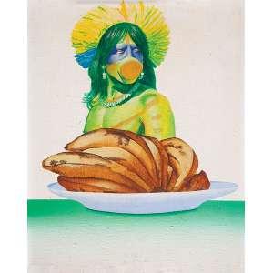 """GLAUCO RODRIGUES - """"Índio e bananas """" Óleo sobre tela sobre eucatex. Ass. tit. dat. 1974 e loc. """"Rio"""" centro. 40 x 32 cm."""