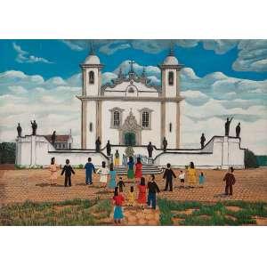 """AGOSTINHO BATISTA DE FREITAS - """"Figuras e igreja"""" Óleo sobre tela. Ass. dat. 1968 inf. dir. 46 x 66 cm."""