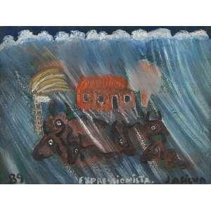 """JOSÉ ANTÔNIO DA SILVA - """"Boiada na tempestade"""" Óleo sobre tela. Ass. inf. dir, dat. 1989 inf. esq. ass. dat. no verso. 30 x 40 cm."""