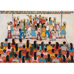 """AGOSTINHO BATISTA DE FREITAS - """"Festa junina"""" Óleo sobre tela. Ass. dat. 1993 inf. esq. 50 x 70 cm."""
