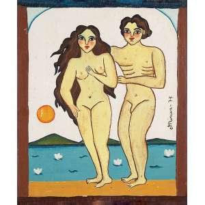 """MIRIAM - """"Adão e Eva"""" Óleo sobre madeira. Ass. dat. 1975 lat. dir. 20 x 17 cm."""