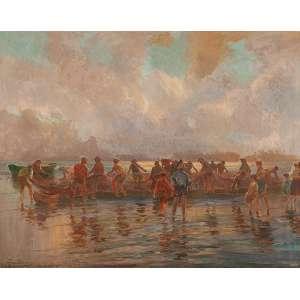 """BIGIO GERARDENGHI - Pescadores"""" - Óleo sobre tela - Ass.inf.esq. - Altura 90 cm - Largura 114 cm"""