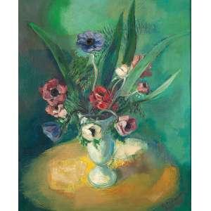 """SAMSON FLEXOR - """"Vaso de flores"""" - Óleo sobre tela - Ass.dat.1937 e loc. """"Paris"""" inf.dir. - Altura 61 cm - Largura 50 cm - Ex. Coleção Drº Majer Leibe Schechner."""