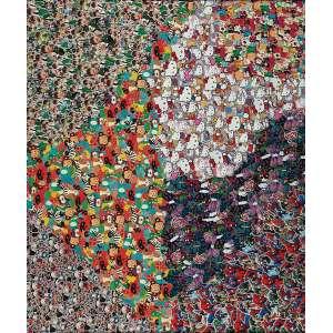 """NELSON LEIRNER - """"Figurativismo abstrato"""" - Colagem de adesivos sobre madeira - Ass.dat.1999+3 em etiqueta no verso - 2012. - Altura 120 cm - Largura 140 cm - Com etiqueta da Silvia Cintra"""