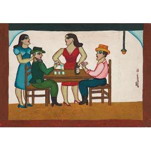 """MIRIAN - """"Sem título"""" - Óleo sobre madeira - Ass.dat.1982 lat.dir. - Altura 24 cm - Largura 36 cm - Reproduzido na pág.9 do catálogo da exposição da Galeria Estação."""